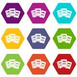 Tres libros con el hexahedron determinado del color del icono de las señales Fotos de archivo libres de regalías