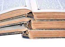 Tres libros de la vendimia Imagenes de archivo