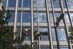Tres limpiadores de ventana que cuelgan en líneas fuera de un edificio alto Foto de archivo libre de regalías