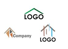 Tres logotipos de la casa Imagenes de archivo