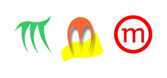 Tres logotipos de m Imagen de archivo