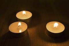 Tres luces ardientes del té Imagen de archivo libre de regalías
