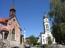 Tres lugares de culto en un cuadrado Imagenes de archivo