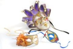 Tres máscaras venecianas para un partido Fotos de archivo libres de regalías