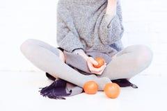Tres mandarines Fotos de archivo