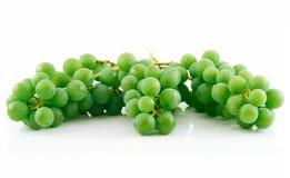 Tres manojos de uvas verdes maduras aisladas Imagenes de archivo