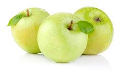 Tres manzanas con las hojas verdes y las gotas del agua Imágenes de archivo libres de regalías