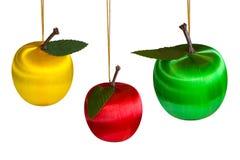 Tres manzanas de la Navidad Foto de archivo libre de regalías
