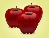 Tres manzanas rojas Imagen de archivo libre de regalías