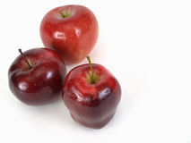 Tres manzanas rojas Foto de archivo libre de regalías