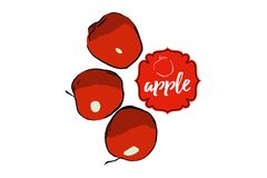 Tres manzanas rojas exhaustas de la historieta aisladas en blanco con la etiqueta engomada ilustración del vector