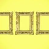 Tres marcos antiguos de la foto del oro en fondo amarillo Fotos de archivo libres de regalías