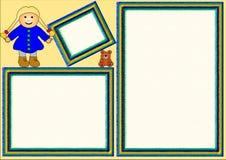 Tres marcos con los juguetes Imagenes de archivo