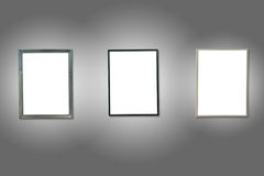 Tres marcos de madera aislados blanco Foto de archivo