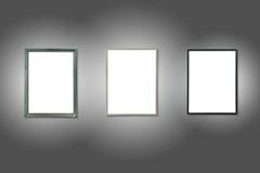 Tres marcos de madera aislados blanco Fotos de archivo