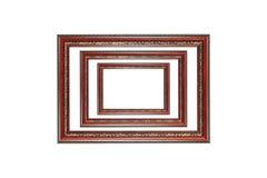 Tres marcos de madera aislados en blanco Imagen de archivo