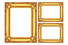 tres marcos de madera del oro antiguo aislados en blanco Foto de archivo libre de regalías