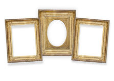 Tres marcos dorados aislados Imagen de archivo libre de regalías