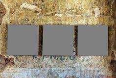 Tres marcos vacíos de la pintura Foto de archivo libre de regalías