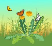 Tres mariposas que vuelan en un campo Foto de archivo