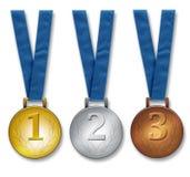 Tres medallas de los ganadores Imágenes de archivo libres de regalías