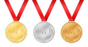 Tres medallas de los Juegos Olímpicos Medalla de oro Medallista de plata libre illustration