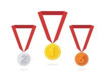 Tres medallas del vector Fotografía de archivo libre de regalías