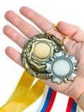 Tres medallas disponibles fotos de archivo