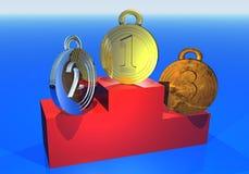Tres medallas en el podium Imágenes de archivo libres de regalías