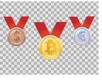 Tres medallas realistas de las monedas con el bitcoin, dólar, euro Oro, plata, bronce, tres lugares Imágenes de archivo libres de regalías