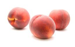 Tres melocotones rojos maduros Fotografía de archivo