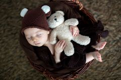 Tres meses lindos del bebé con el sombrero del oso en una cesta, durmiendo Fotos de archivo libres de regalías