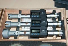 Tres micrómetros interiores Foto de archivo libre de regalías