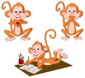 Tres monos stock de ilustración