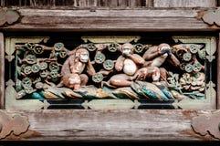 Tres monos sabios en la capilla de Nikko Toshogu, Tochigi, Japón Imagen de archivo libre de regalías