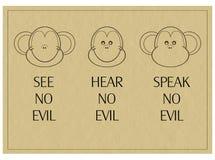 Tres monos sabios - no vea, oiga, hable ningún mal Imagen de archivo