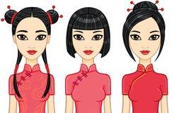 Tres muchachas asiáticas de la animación con diversos peinados Fotografía de archivo libre de regalías
