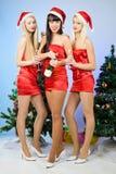 Tres muchachas atractivas que desgastan la ropa de Papá Noel Imagen de archivo