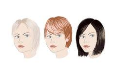 Tres muchachas con diverso corte de pelo Imagen de archivo