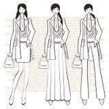 Tres muchachas de moda Ejemplo de los gráficos de la moda Fotografía de archivo libre de regalías