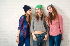 Tres muchachas divertidas del inconformista Foto entonada Foto de archivo libre de regalías