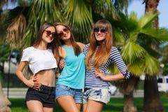 Tres muchachas en el fondo de palmeras Foto de archivo