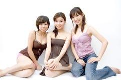 Tres muchachas felices Imagen de archivo libre de regalías