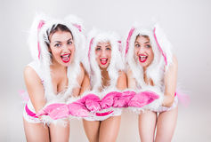 Tres muchachas hermosas en traje del conejo sienten felices poniendo sus manos adelante Fotografía de archivo