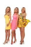 Tres muchachas hermosas en vestidos de la moda Fotografía de archivo libre de regalías