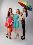 Tres muchachas hermosas listas para volar Foto de archivo libre de regalías