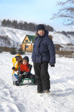Tres muchachos felices Fotos de archivo libres de regalías