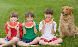Tres muchachos que comen la sandía Foto de archivo