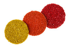 Tres muestras de piso de goma coloreadas Imagenes de archivo