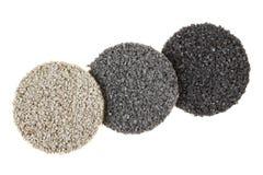 Tres muestras de piso de goma coloreadas gris Foto de archivo